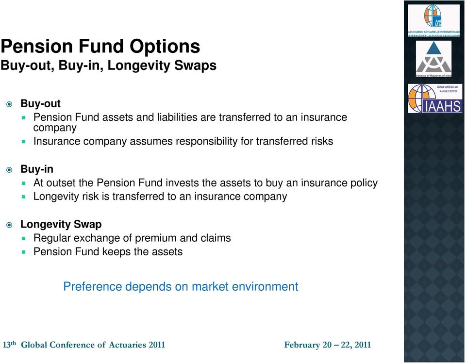 Pension Fund invests the assets to buy an insurance policy Longevity risk is transferred to an insurance company