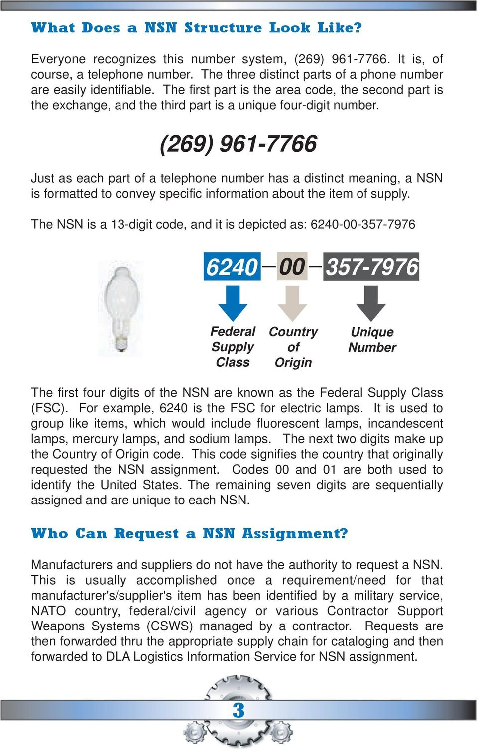 (269) 961-7766 Just as each part of a telephone number has a distinct meaning, a NSN is formatted to convey specific information about the item of supply.