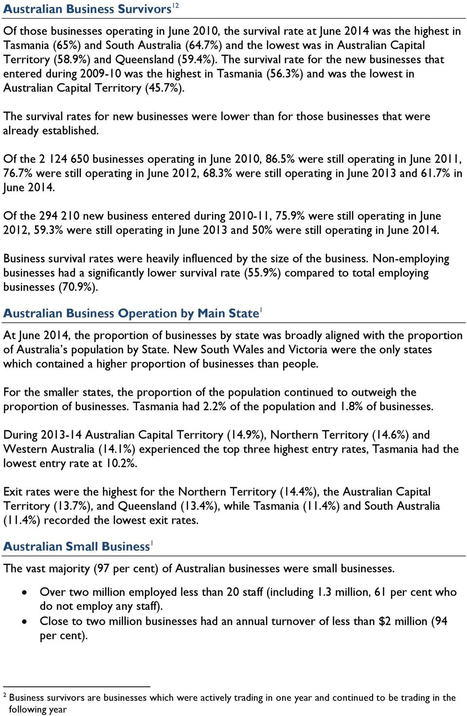 3%) and was the lowest in Australian Capital Territory (45.7%). The survival rates for new businesses were lower than for those businesses that were already established.