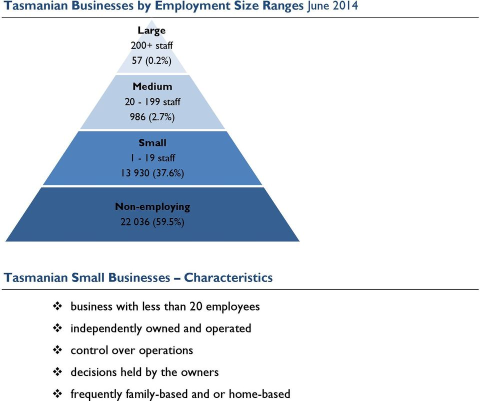 5%) Tasmanian Small Businesses Characteristics business with less than 20 employees