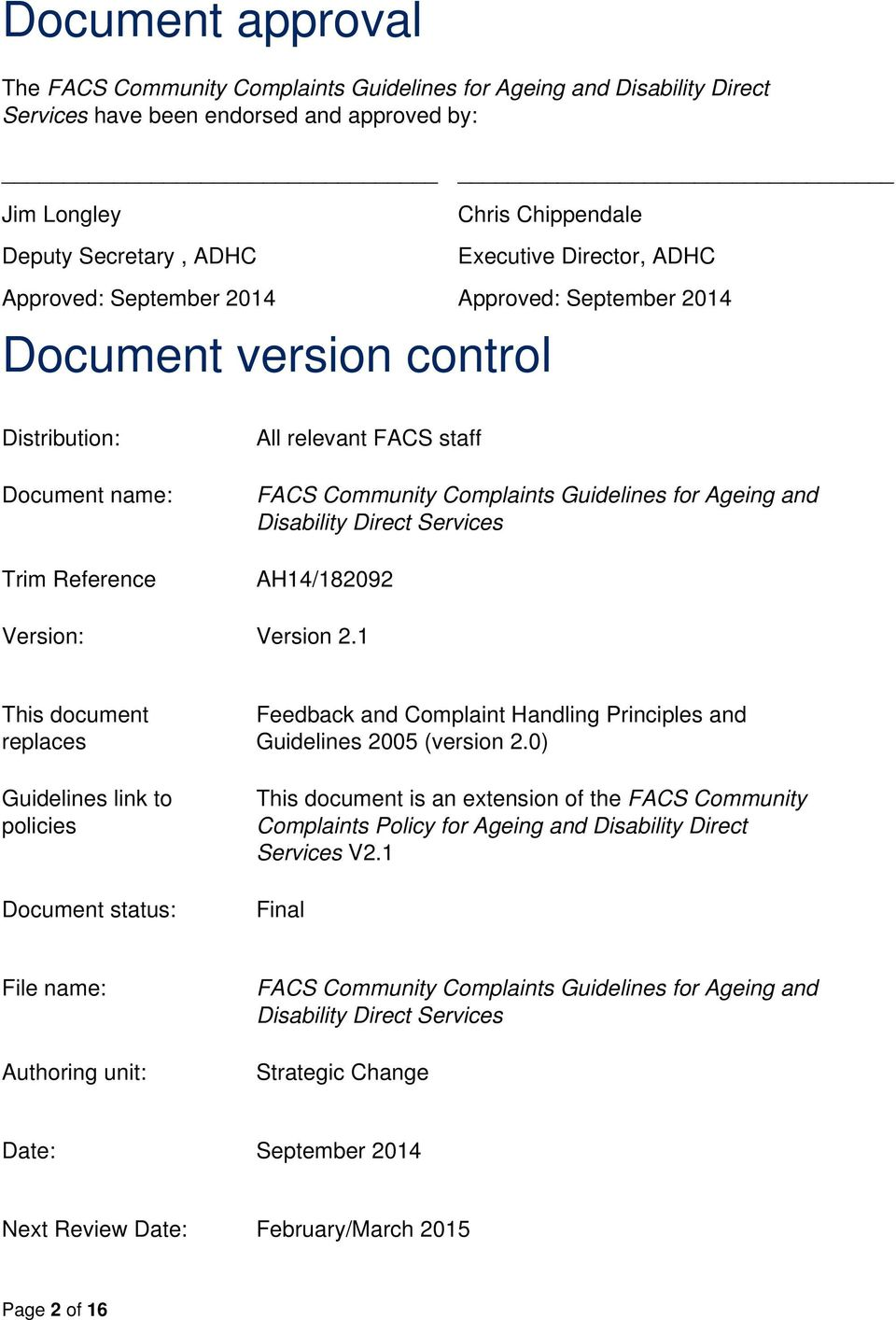 Ageing and Disability Direct Services AH14/182092 Version: Version 2.