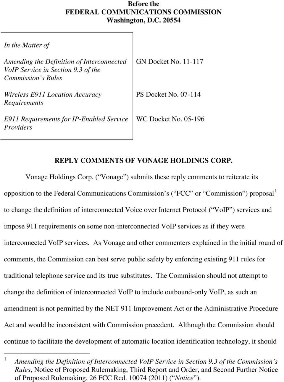 05-196 REPLY COMMENTS OF VONAGE HOLDINGS CORP. Vonage Holdings Corp.
