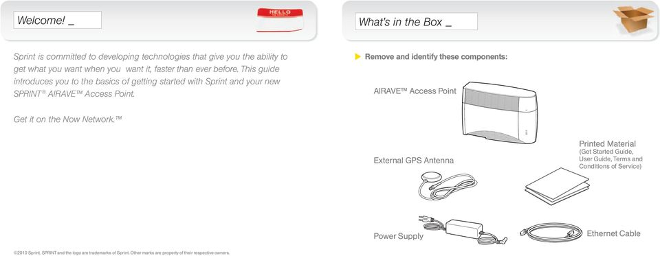 before. This guide introduces you to the basics of getting started with Sprint and your new SPRINT AIRAVE Access Point.