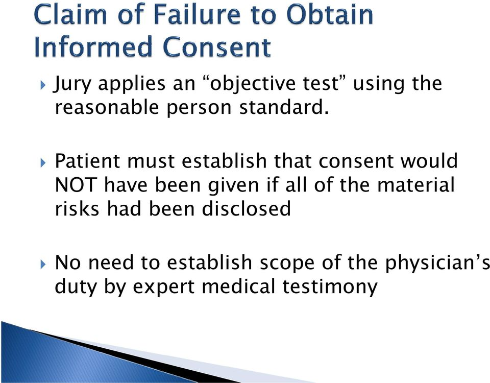 Patient must establish that consent would NOT have been given if