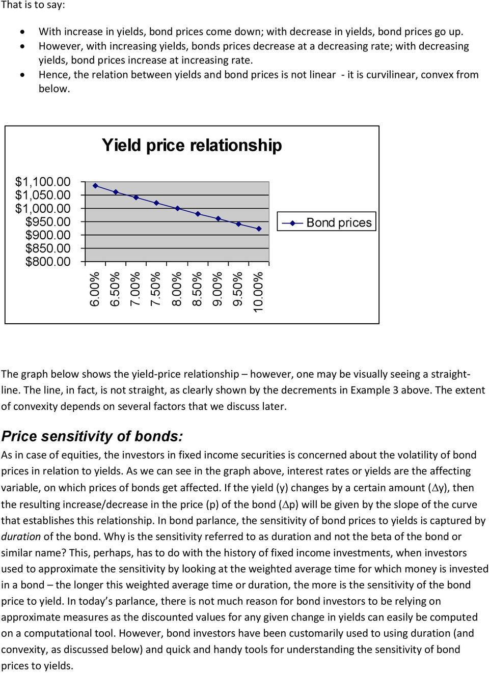 Hence, the relation between yields and bond prices is not linear - it is curvilinear, convex from below. Yield price relationship $1,100.00 $1,050.00 $1,000.00 $950.00 $900.00 $850.00 $800.