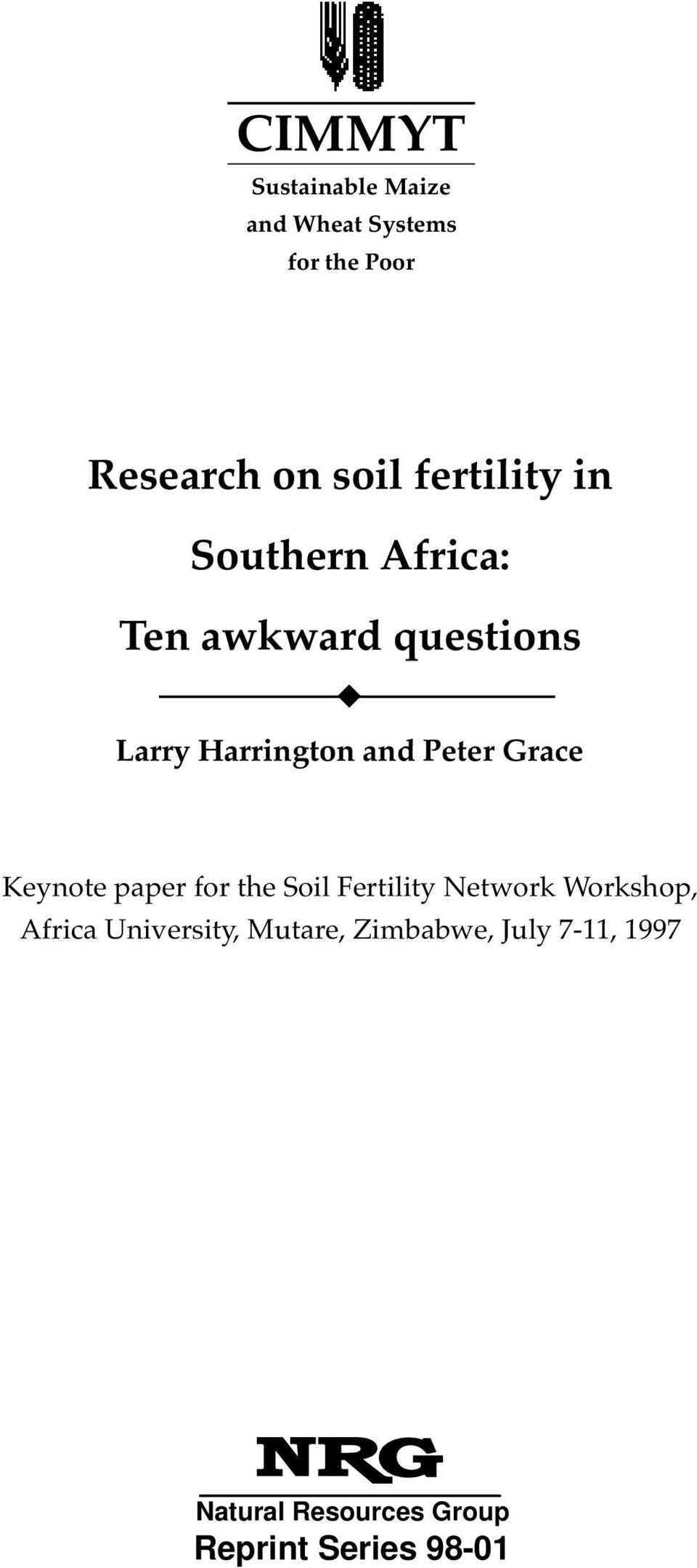 Peter Grace Keynote paper for the Soil Fertility Network Workshop, Africa