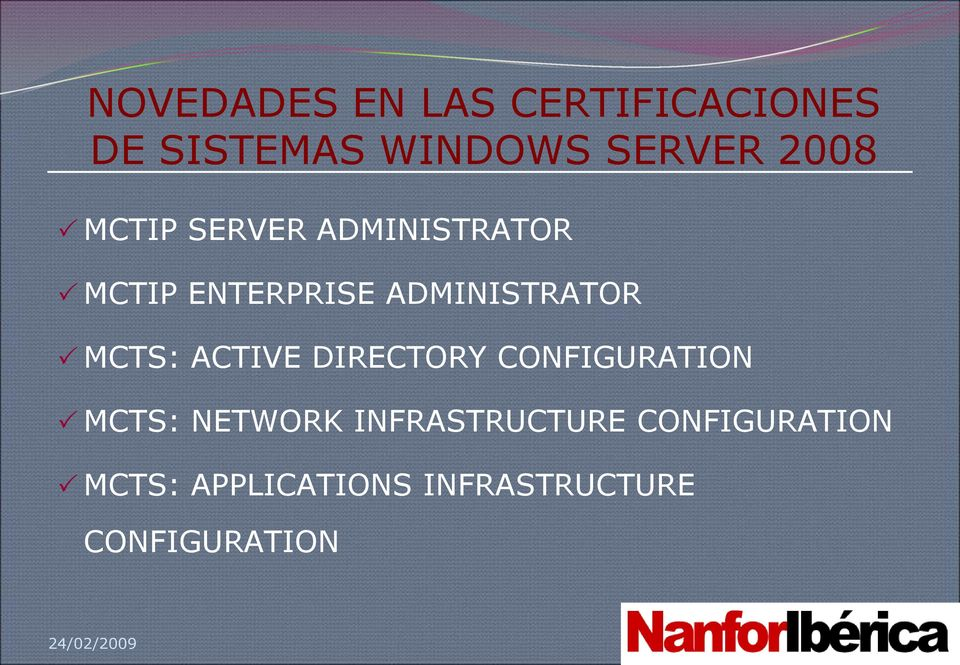MCTS: ACTIVE DIRECTORY CONFIGURATION MCTS: NETWORK