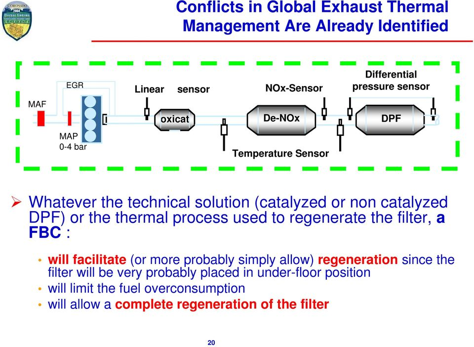 thermal process used to regenerate the filter, a FBC : will facilitate (or more probably simply allow) regeneration since the