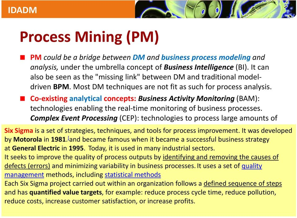 Co existing analytical concepts: Business Activity Monitoring (BAM): technologies enabling the real time monitoring of business processes.
