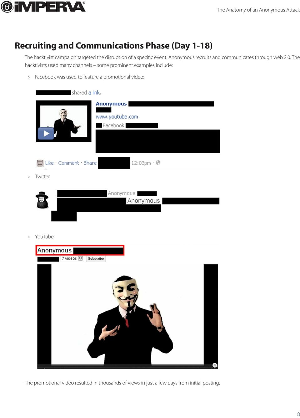 The hacktivists used many channels some prominent examples include: Facebook was used to feature a