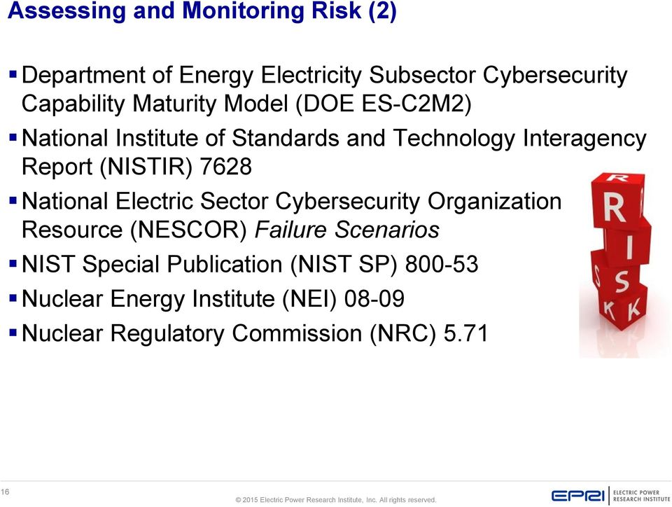 7628 National Electric Sector Cybersecurity Organization Resource (NESCOR) Failure Scenarios NIST Special