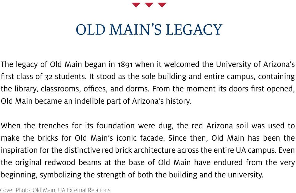 From the moment its doors first opened, Old Main became an indelible part of Arizona s history.