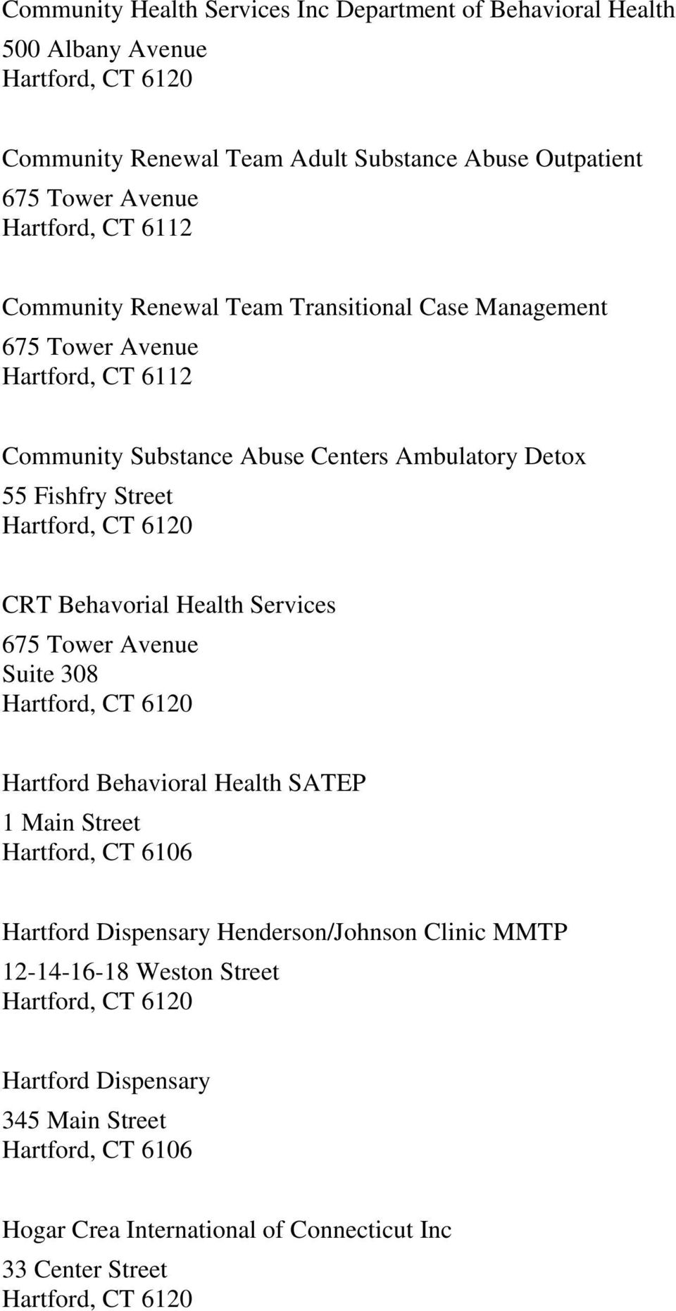Fishfry Street CRT Behavorial Health Services 675 Tower Avenue Suite 308 Hartford Behavioral Health SATEP 1 Main Street Hartford Dispensary