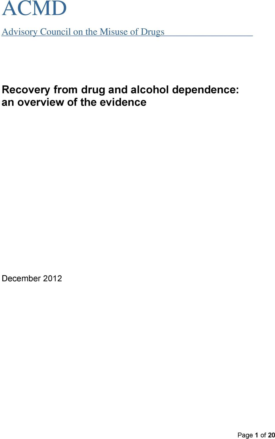 alcohol dependence: an overview of