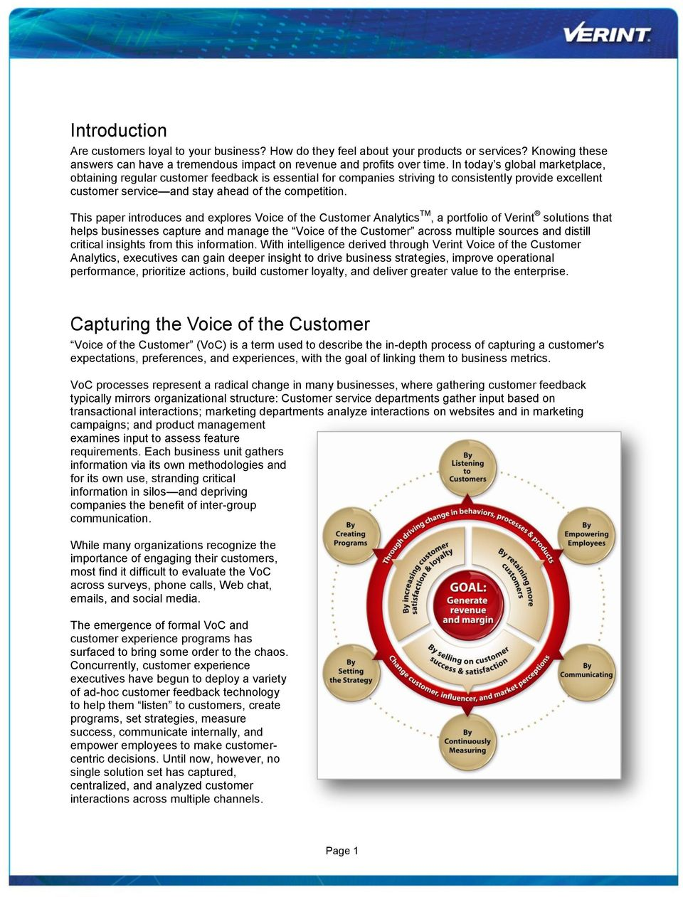 This paper introduces and explores Voice of the Customer Analytics TM, a portfolio of Verint solutions that helps businesses capture and manage the Voice of the Customer across multiple sources and