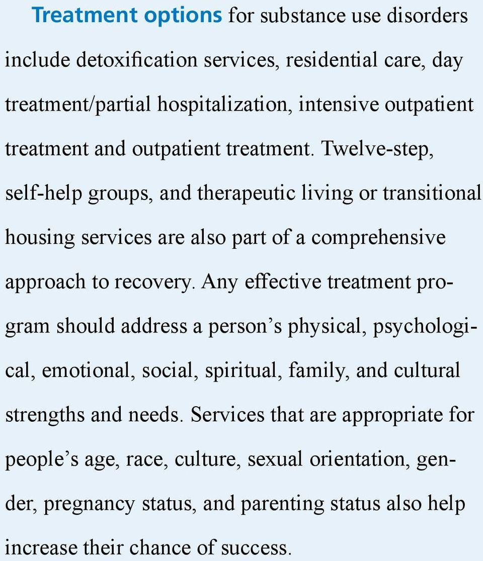 Twelve-step, self-help groups, and therapeutic living or transitional housing services are also part of a comprehensive approach to recovery.
