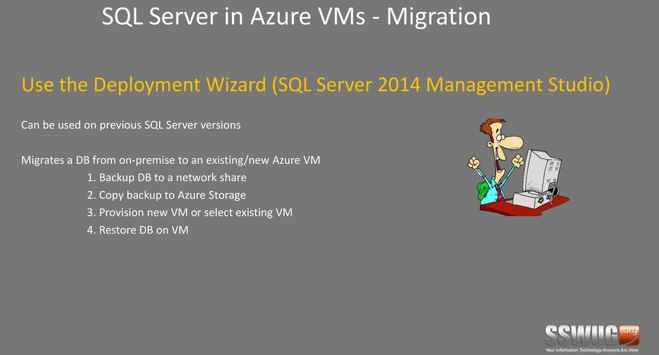 on-premise to an existing/new Azure VM 1. Backup DB to a network share 2.