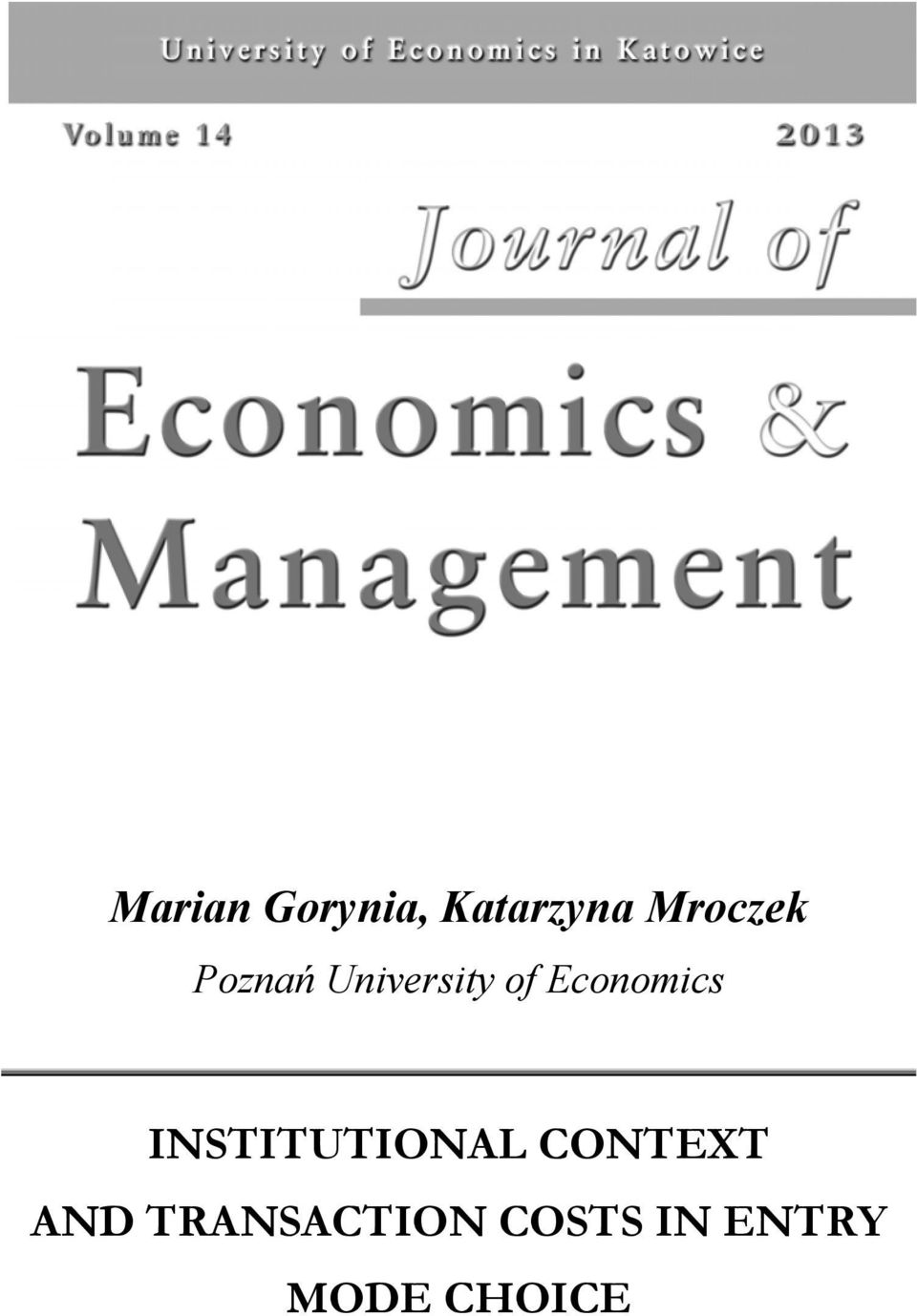Economics INSTITUTIONAL CONTEXT