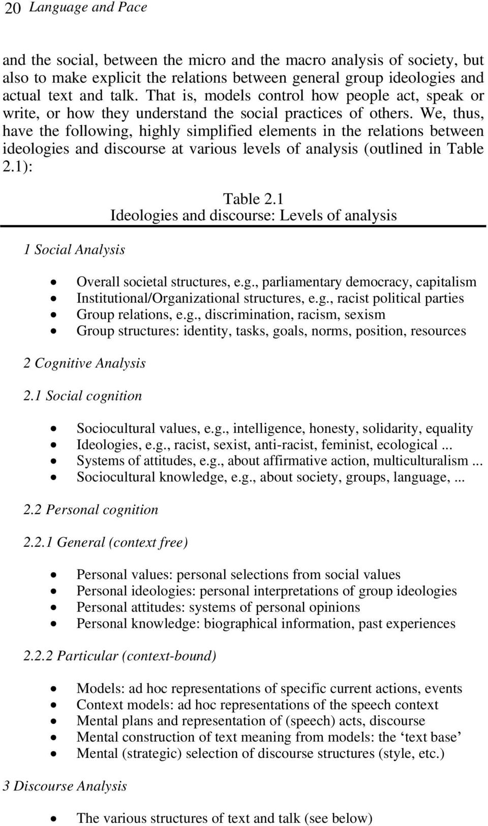 We, thus, have the following, highly simplified elements in the relations between ideologies and discourse at various levels of analysis (outlined in Table 2.1): 1 Social Analysis Table 2.