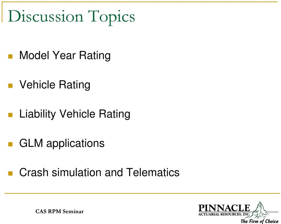 Liability Vehicle Rating GLM