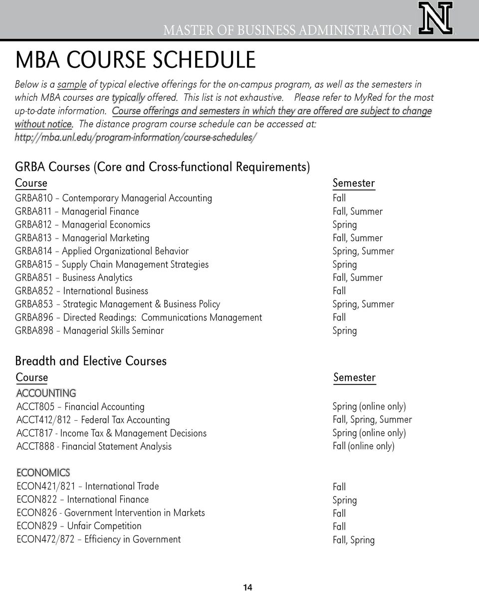 The distance program course schedule can be accessed at: http://mba.unl.
