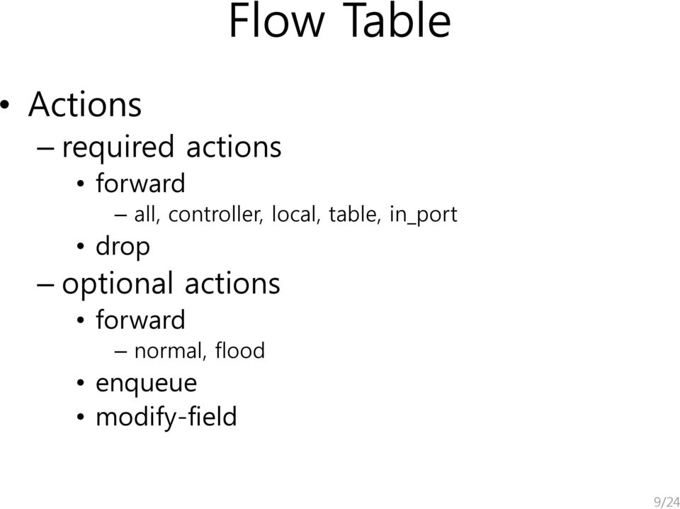 table, in_port drop optional actions