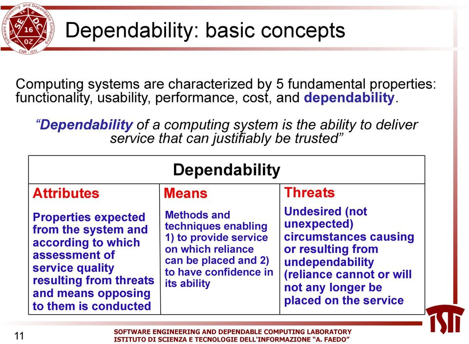 of service quality resulting from threats and means opposing to them is conducted Dependability Means Methods and techniques enabling 1) to provide service on which reliance can be