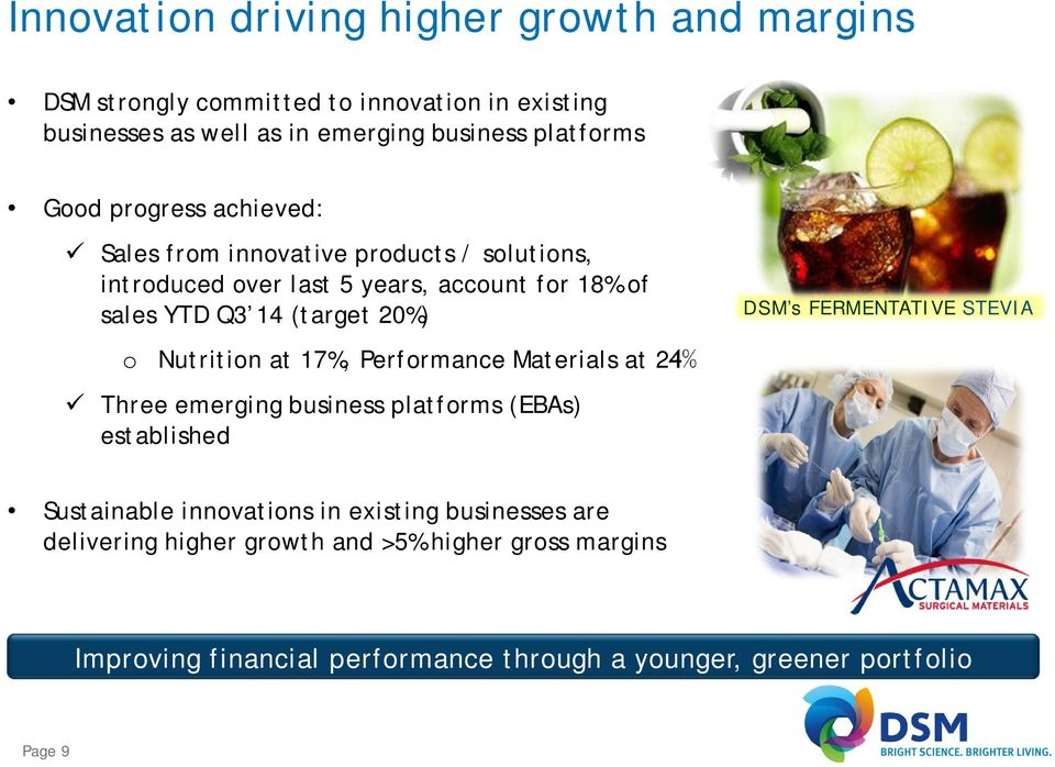 Nutrition at 17%, Performance Materials at 24% Three emerging business platforms (EBAs) established DSM s FERMENTATIVE STEVIA Sustainable innovations