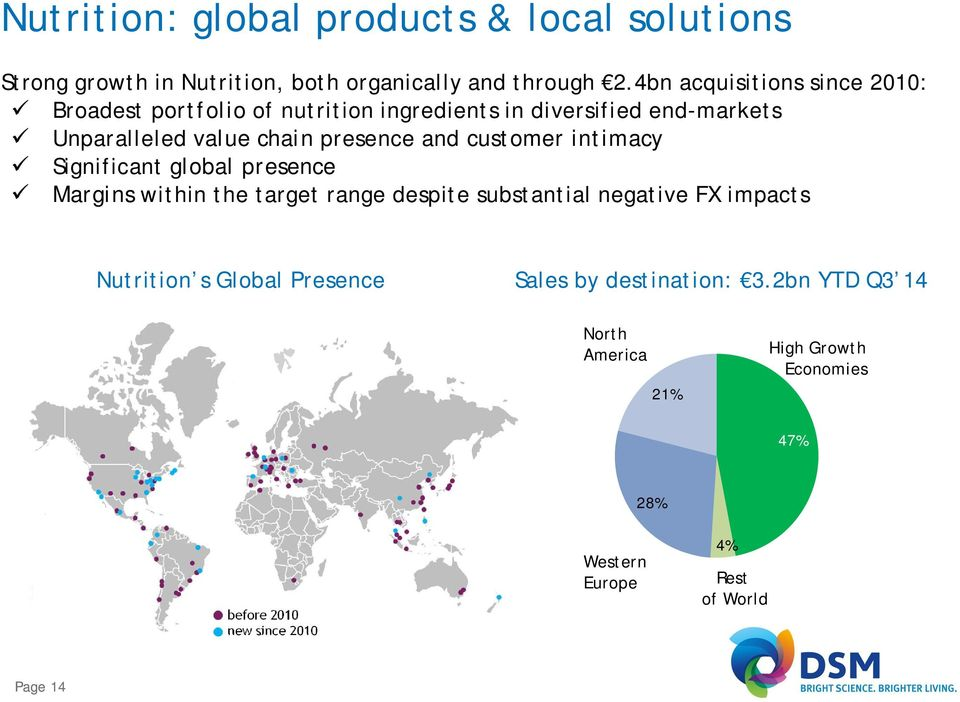 and customer intimacy Significant global presence Margins within the target range despite substantial negative FX impacts Nutrition s