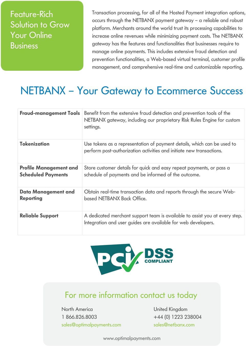 The NETBANX gateway has the features and functionalities that businesses require to manage online payments.