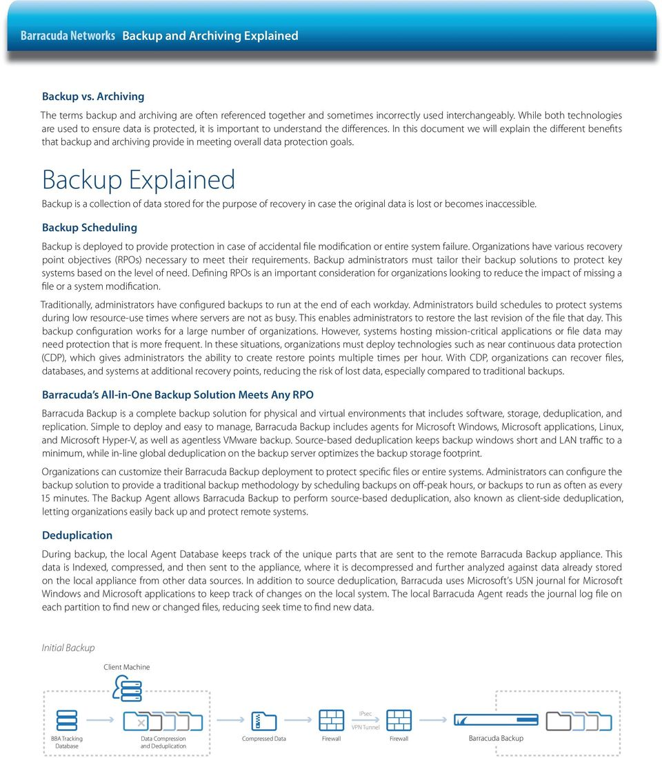 In this document we will explain the different benefits that backup and archiving provide in meeting overall data protection goals.