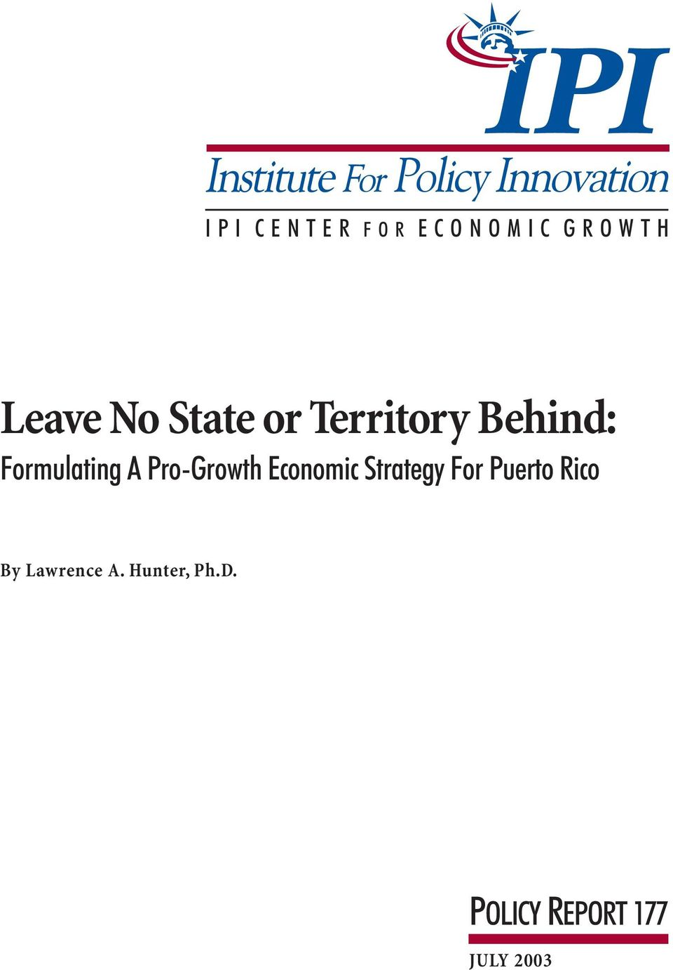 Pro-Growth Economic Strategy For Puerto Rico