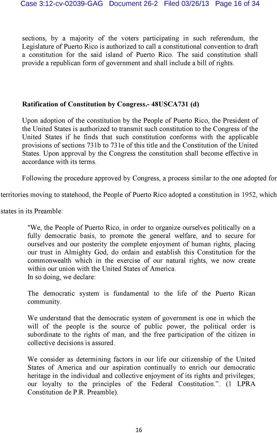 Ratification of Constitution by Congress.