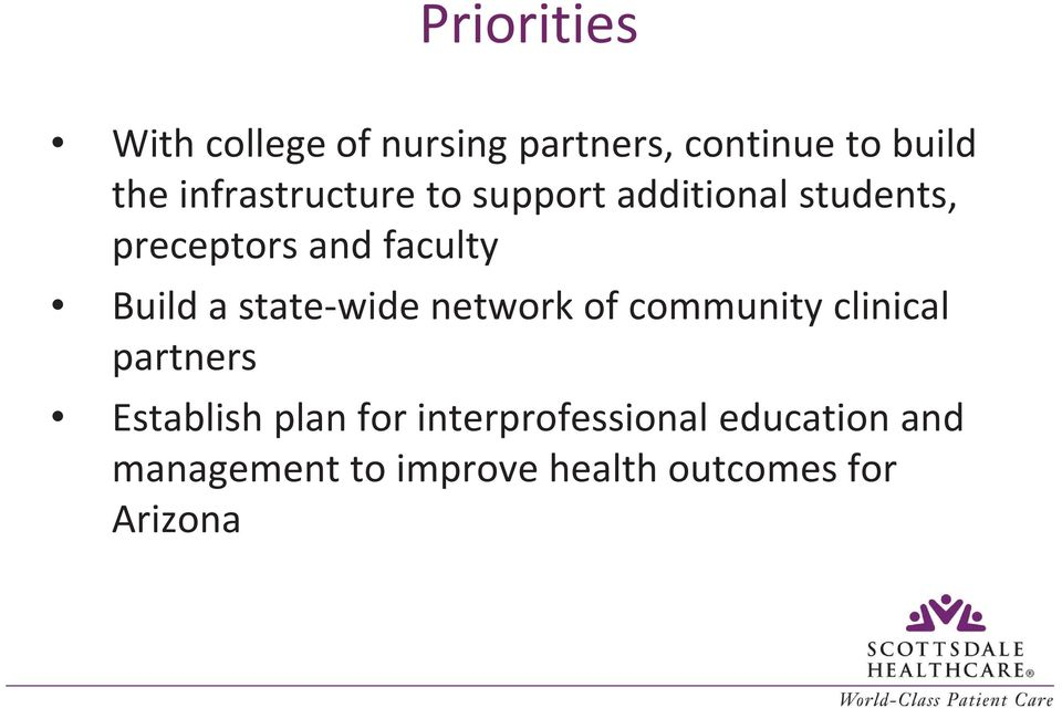 Build a state-wide network of community clinical partners Establish plan