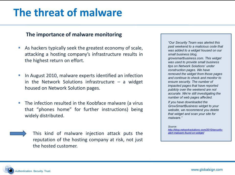The infection resulted in the Koobface malware (a virus that phones home for further instructions) being widely distributed.
