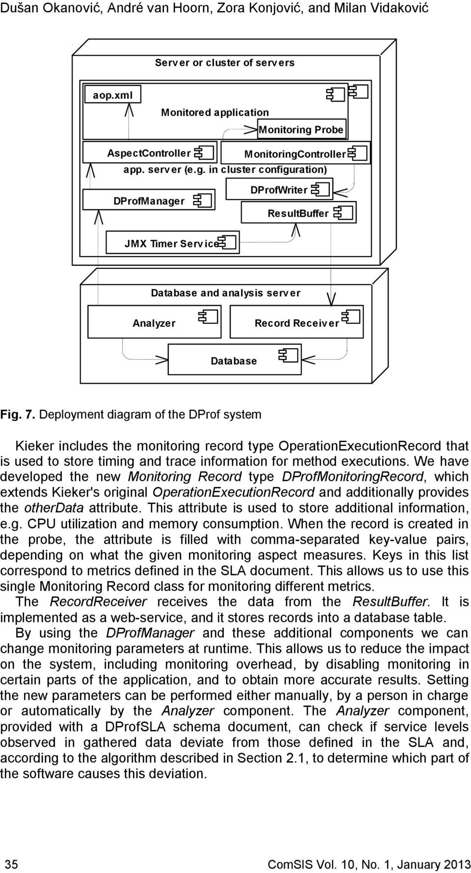 Deployment diagram of the DProf system Kieker includes the monitoring record type OperationExecutionRecord that is used to store timing and trace information for method executions.