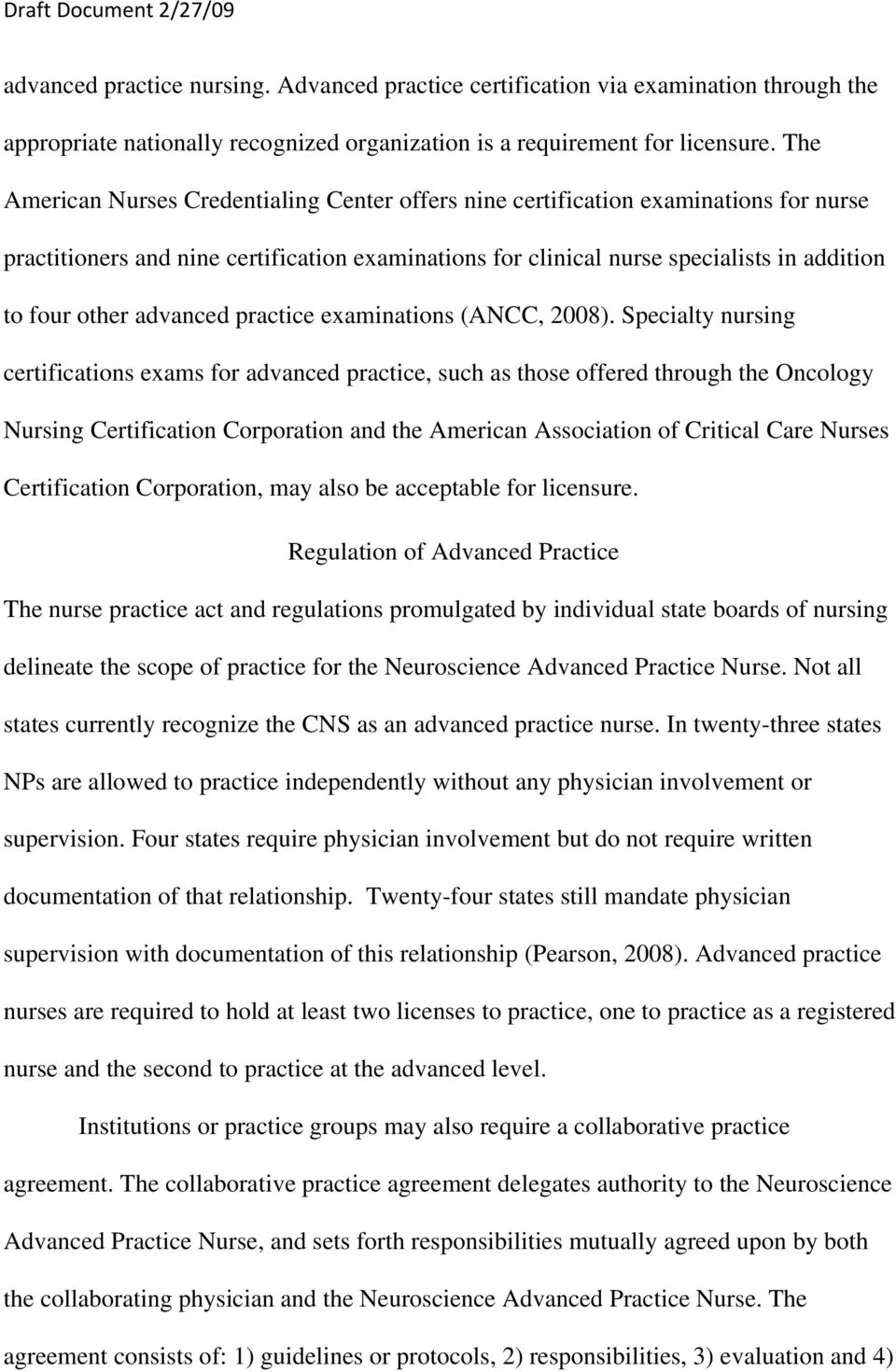 advanced practice examinations (ANCC, 2008).