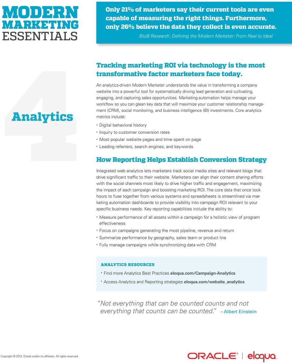 Analytics An analytics-driven Modern Marketer understands the value in transforming a company website into a powerful tool for systematically driving lead generation and cultivating, engaging, and