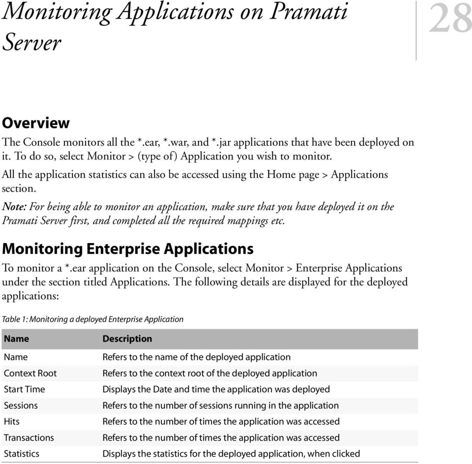 Note: For being able to monitor an application, make sure that you have deployed it on the Pramati Server first, and completed all the required mappings etc.