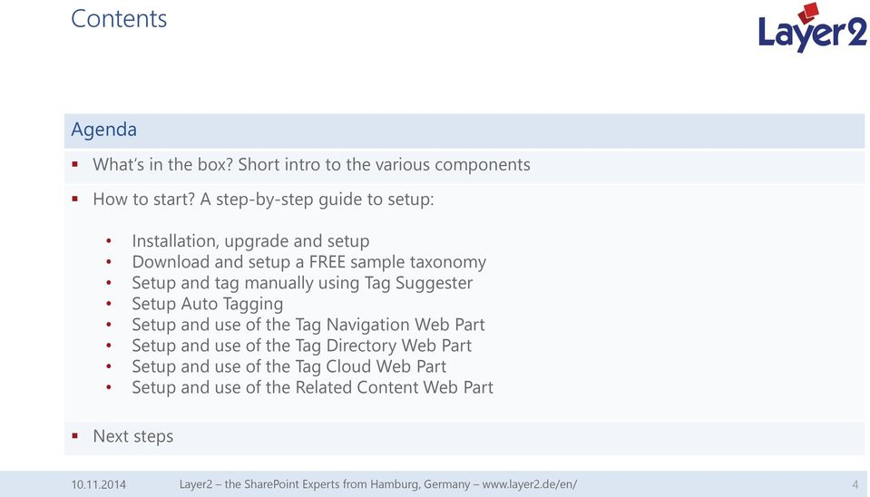 using Tag Suggester Setup Auto Tagging Setup and use of the Tag Navigation Web Part Setup and use of the Tag Directory Web Part