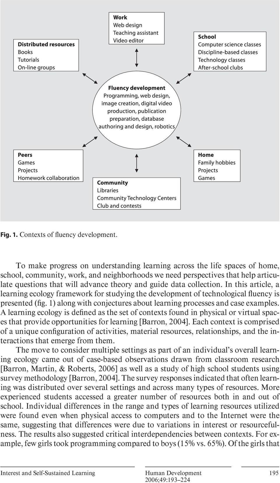 guide data collection. In this article, a learning ecology framework for studying the development of technological fluency is presented ( fig.