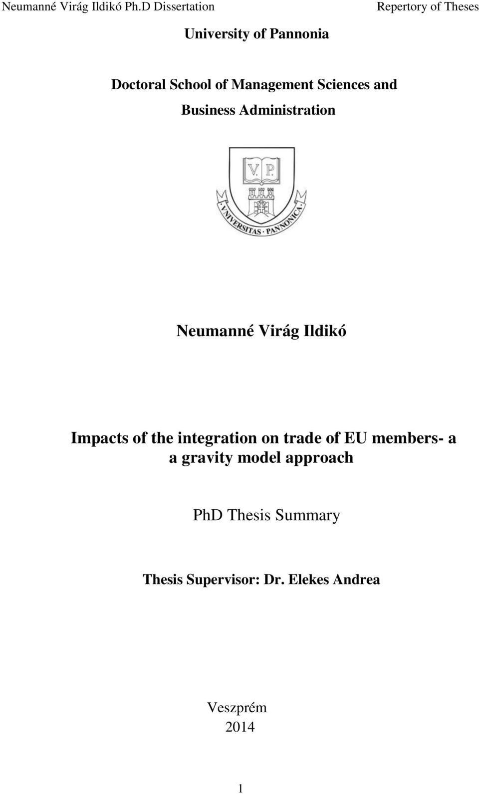 integration on trade of EU members- a a gravity model approach