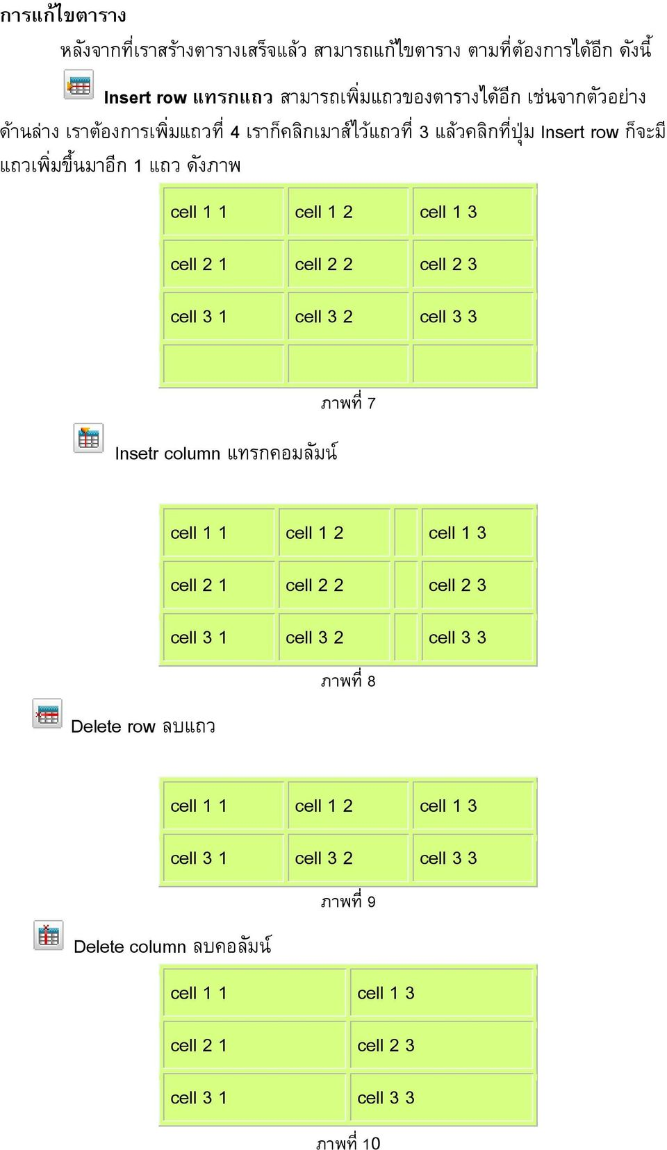 cell 2 3 cell 3 1 cell 3 2 cell 3 3 Insetr column แทรกคอมล มน ภาพท 7 cell 1 1 cell 1 2 cell 1 3 cell 2 1 cell 2 2 cell 2 3 cell 3 1 cell 3 2 cell 3 3 ภาพท 8