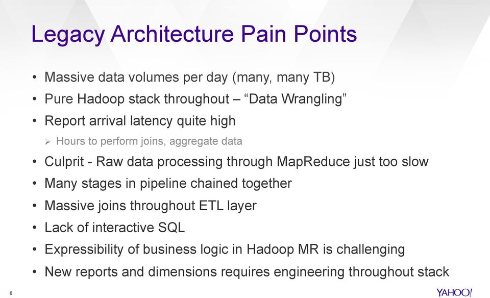 MapReduce just too slow Many stages in pipeline chained together Massive joins throughout ETL layer Lack of interactive