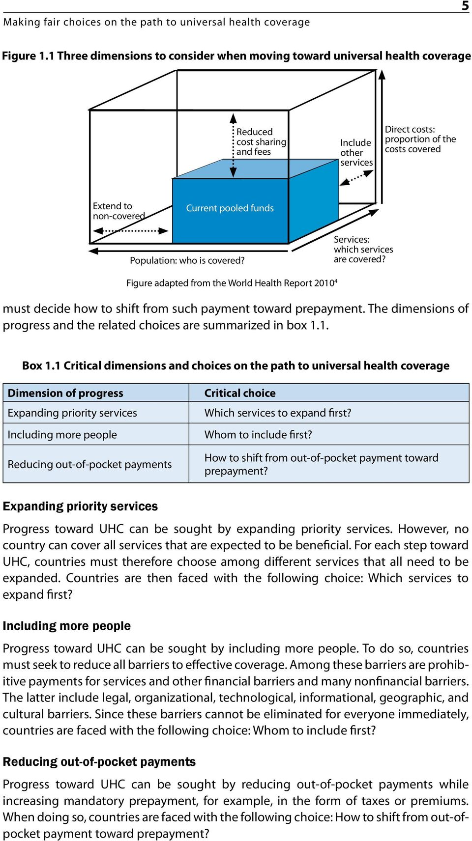 Current pooled funds Population: who is covered? Services: which services are covered? Figure adapted from the World Health Report 2010 4 must decide how to shift from such payment toward prepayment.