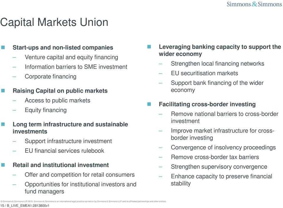 competition for retail consumers Opportunities for institutional investors and fund managers Leveraging banking capacity to support the wider economy Strengthen local financing networks EU