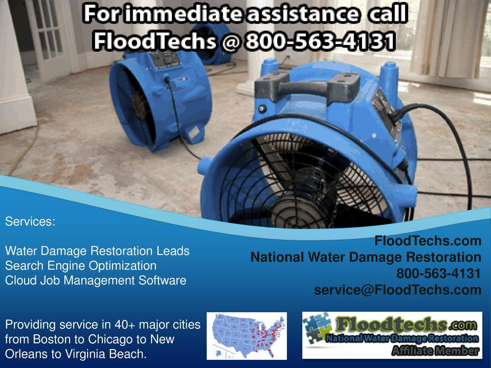 com National Water Damage Restoration 800-563-4131 service@floodtechs.