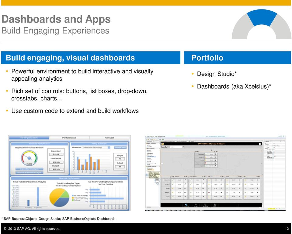 crosstabs, charts Portfolio Design Studio* Dashboards (aka Xcelsius)* Use custom code to extend and build