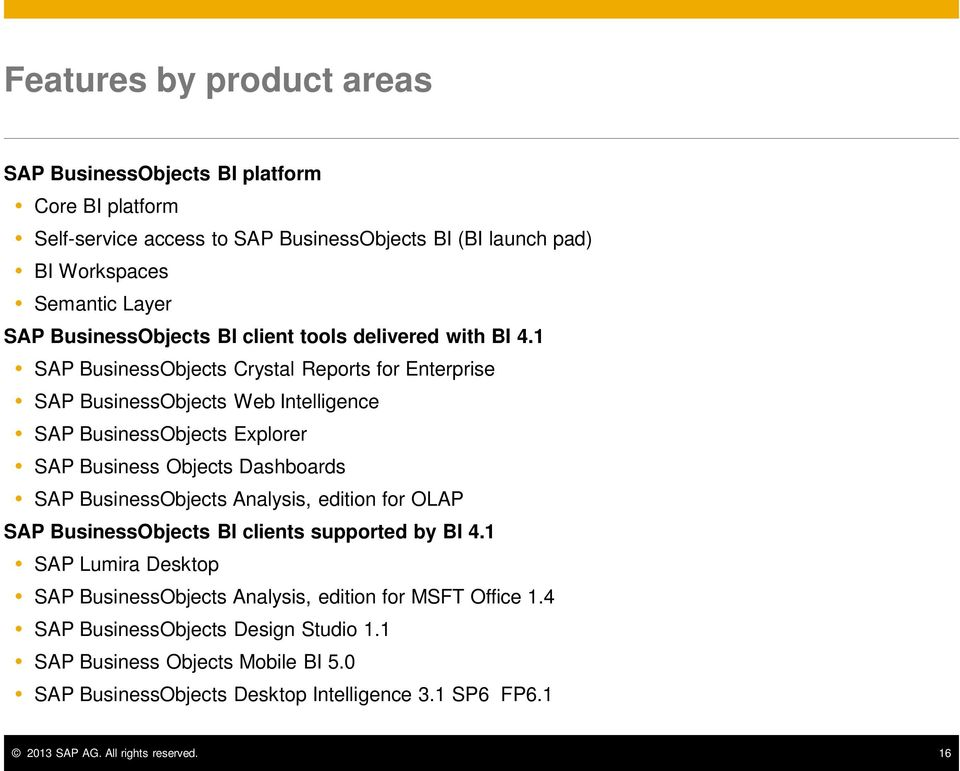 1 SAP BusinessObjects Crystal Reports for Enterprise SAP BusinessObjects Web Intelligence SAP BusinessObjects Explorer SAP Business Objects Dashboards SAP BusinessObjects