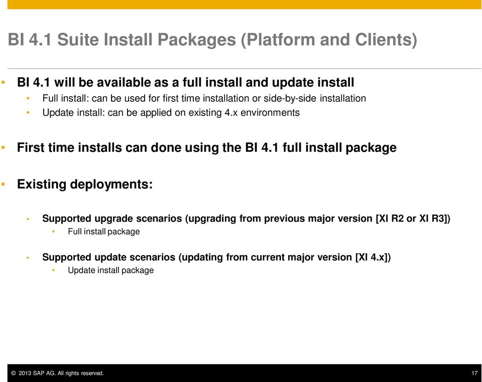install: can be applied on existing 4.x environments First time installs can done using the BI 4.